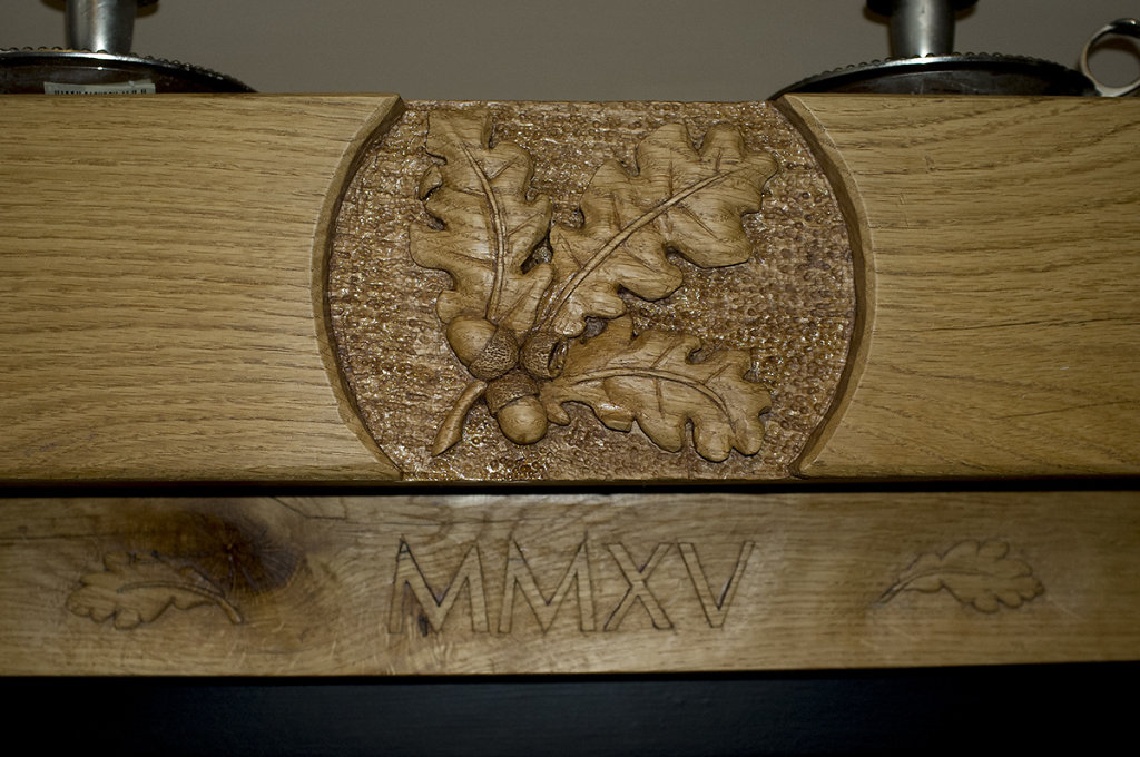 Carved oak fire surround